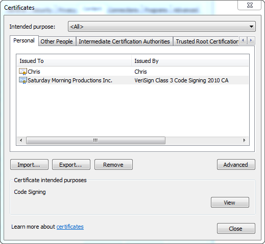 View Cert In IE 2